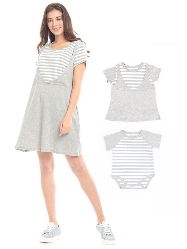 Grey Stripped In Short Sleeves Nursing Dress Baju Hamil & Menyusui