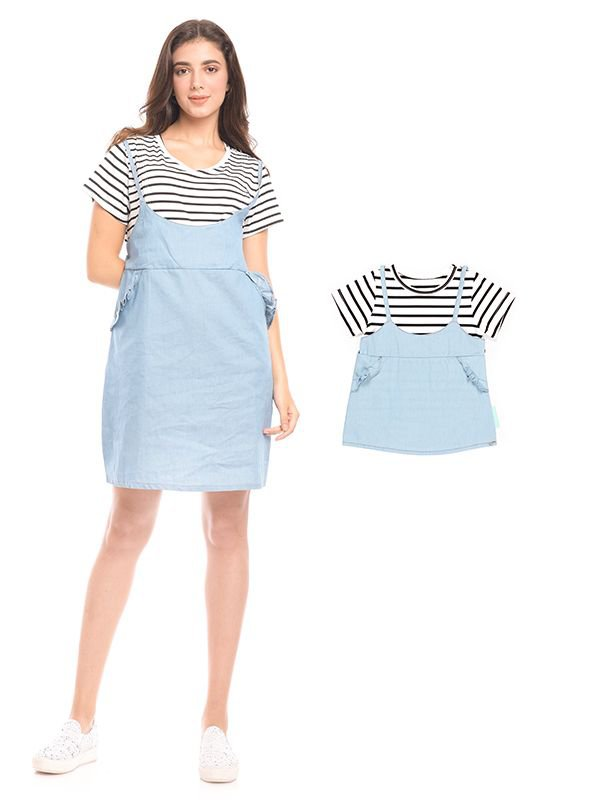 2 Piece Stripes Denim Nursing Dress Baju Hamil & Menyusui