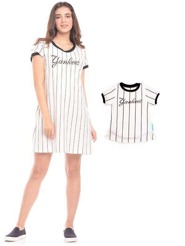One Piece Vertical White Striped Maternity & Nursing Dress Baju Hamil & Menyusui