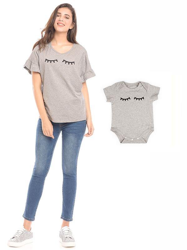 MOOIMOM Lashes Rimple Hand Nursing Top Couple Set Baju Hamil & Menyusui Couple Ibu Anak