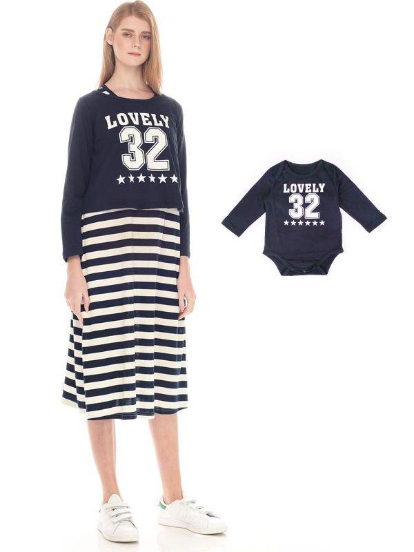 2 Piece Number 32 Long Sleeve Maternity & Nursing Dress Baju Hamil Menyusui Couple Ibu Anak