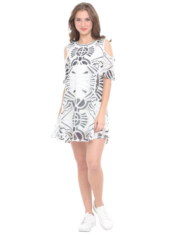 MOOIMOM Cold Shoulder Abstract Maternity & Nursing Dress