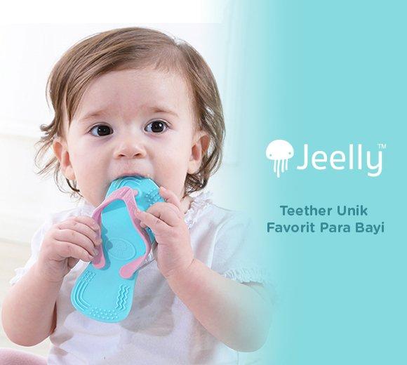 Gigitan bayi, teether bayi, gigitan bayi lucu, gigitan bayi unik, sandal bayi, gigitan bayi yang aman, BPA FREE, JEELLY, MOOIMOM