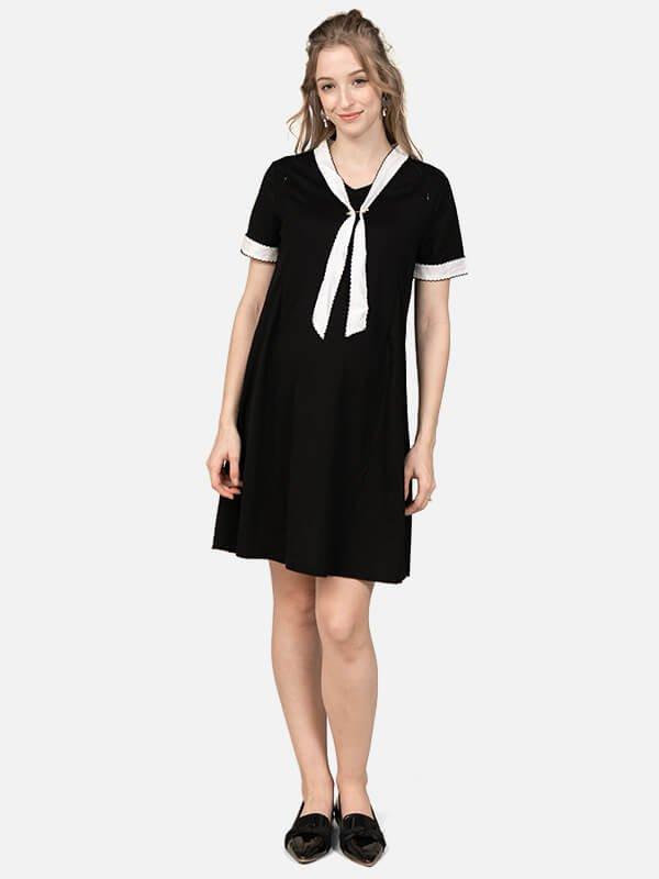 MOOIMOM White String Nursing Dress / Baju Menyusui
