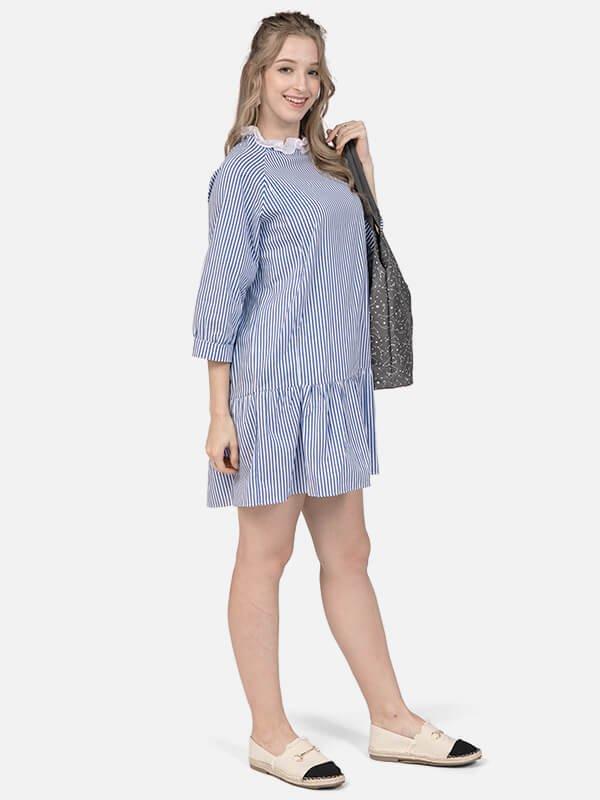 MOOIMOM Firle Stripe Nursing Dress/Baju Menyusui