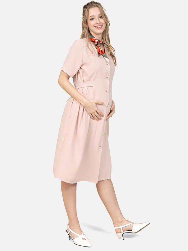 MOOIOM Button Nursing Dress / Baju Menyusui