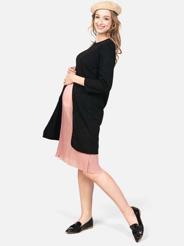 MOOIMOM Split Nursing Dress Black-Baju Menyusui