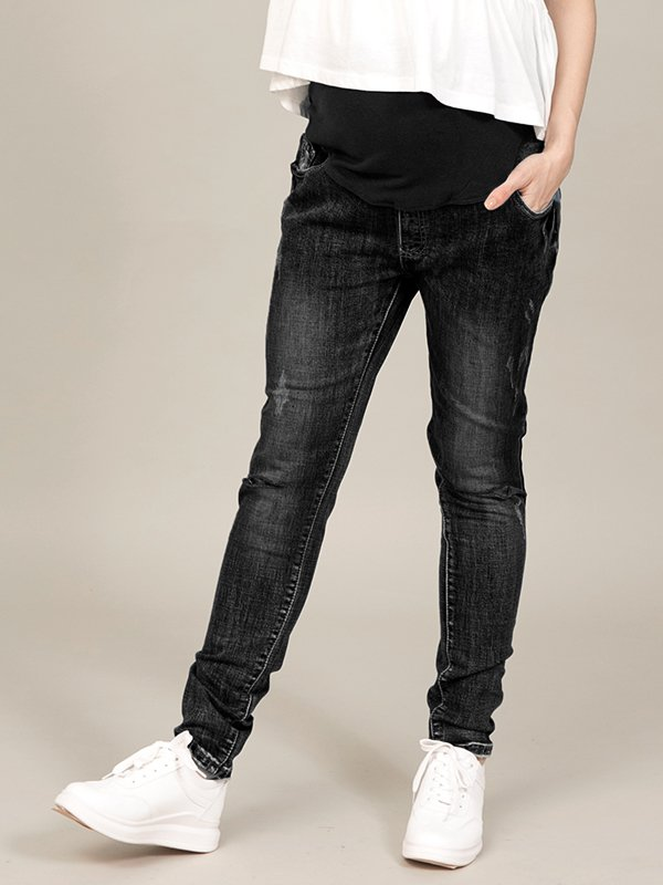 MOOIMOM Maternity Jeans Black - Celana Jeans Hamil Mooimom