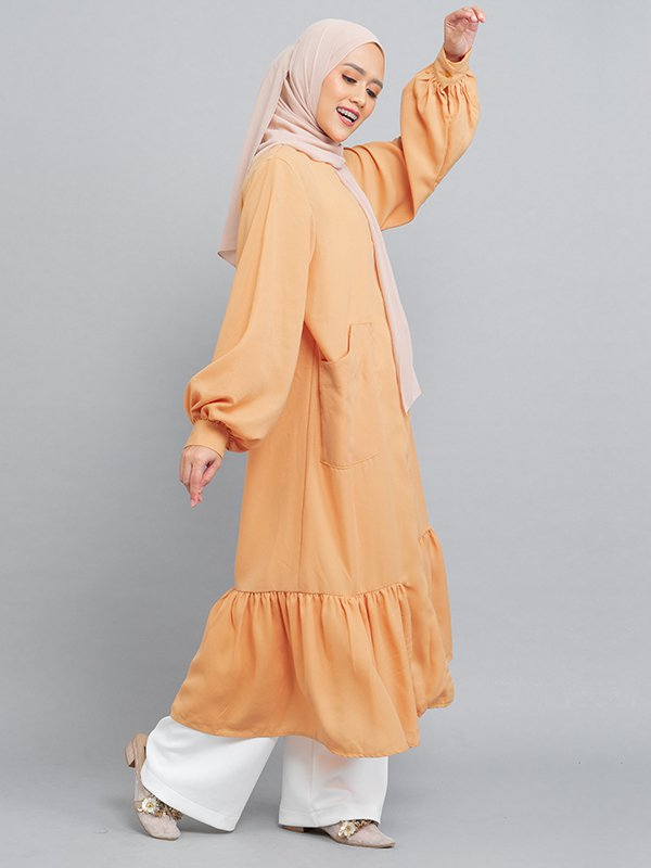 MOOIMOM Long Button Gamis Dress with Flaire Mustard