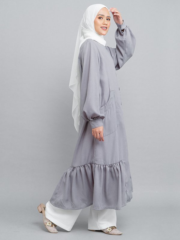 MOOIMOM Long Button Gamis Dress with Flaire Grey