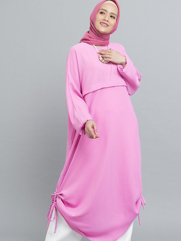 MOOIMOM Gamis Dress with drawstring Pink