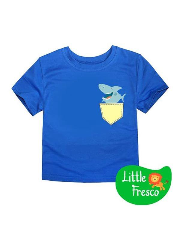 LITTLE FRESCO Kaos Anak Biru Shark Pocket