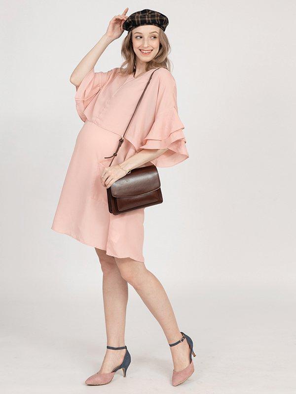 MOOIMOM Double Flair Sleeve Maternity & Nursing Dress - Baju Hamil & Menyusui