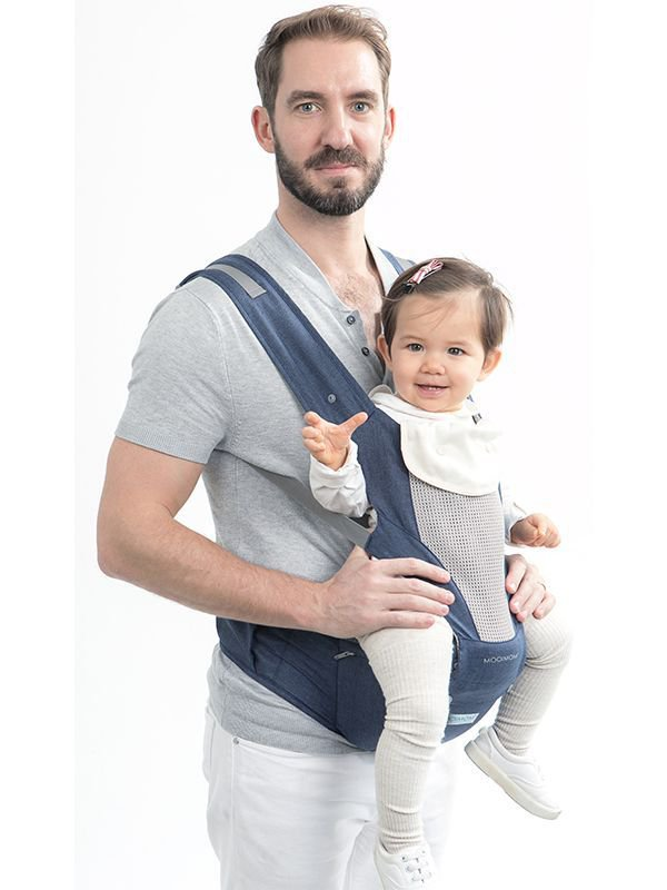 MOOIMOM Breathable Hipseat Carrier Navy