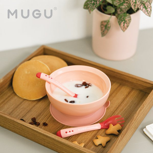 [MUGU] Paket Bundling Hemat Antispill Suction Bowl 340ml + Sensoric Spoon and Fork