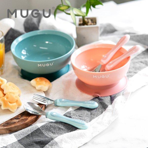 [MUGU] Paket Bundling Hemat Antispill Suction Bowl 340ml + Toddler Spoon and Fork