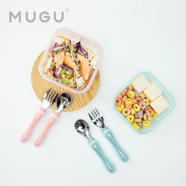 [MUGU] Paket Bundling Hemat Lunch Box 370ml + Toddler Spoon and Fork
