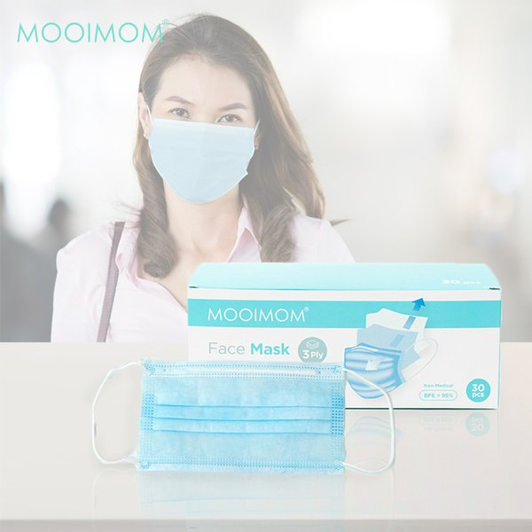 MOOIMOM Disposable Face Mask 30 Pcs - Masker Sekali Pakai Dewasa