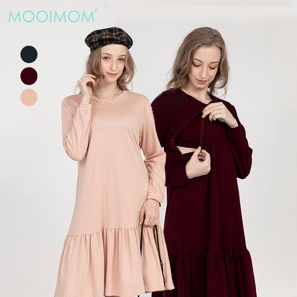 MOOIMOM Side Zip with Rample Maternity & Nursing Dress - Baju Hamil & Menyusui