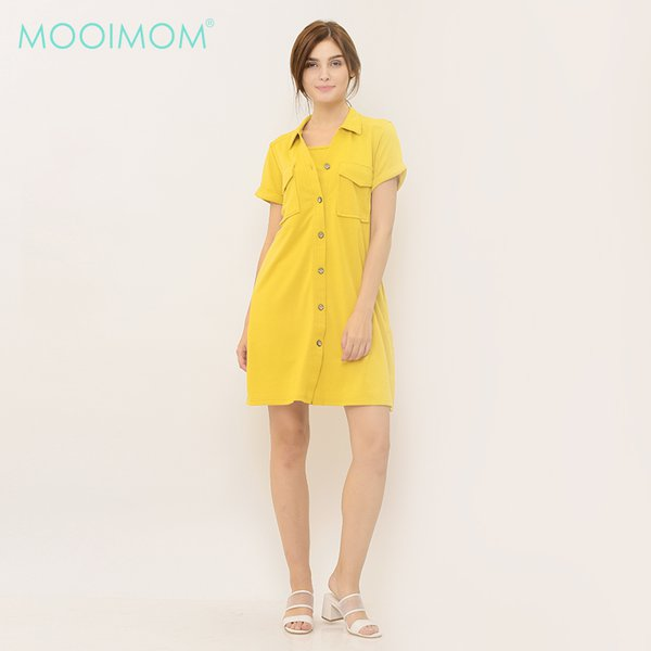 MOOIMOM Yellow Nursing Dress Baju Hamil Menyusui