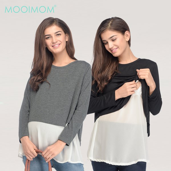 MOOIMOM Soft Touch Maternity & Nursing Top with Chiffon Hem Baju Hamil Menyusui