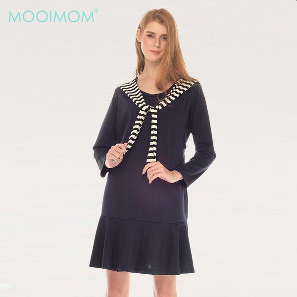 Navy Sailor Collar long sleeve Nursing Dress Baju Hamil Menyusui