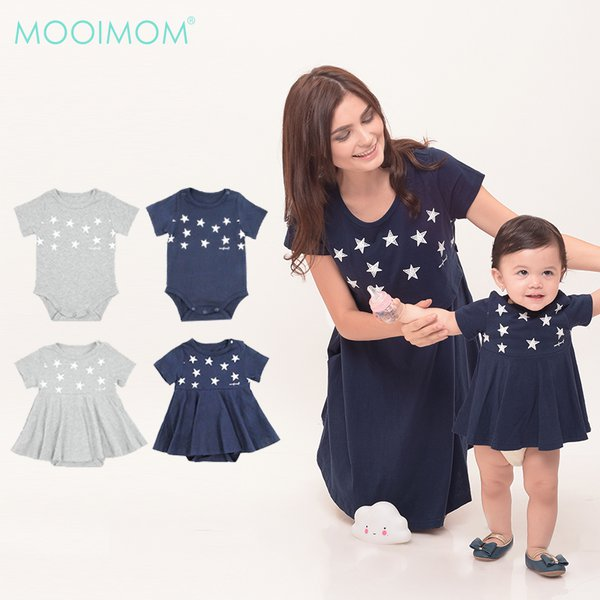 MOOIMOM Starry Sky Nursing Dress + Baby Clothes Baju Hamil Menyusui Couple Ibu Anak