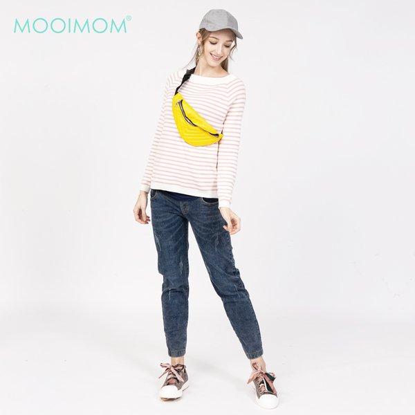 MOOIMOM Stripe Nursing T-Shirt  Pink / Baju Menyusui