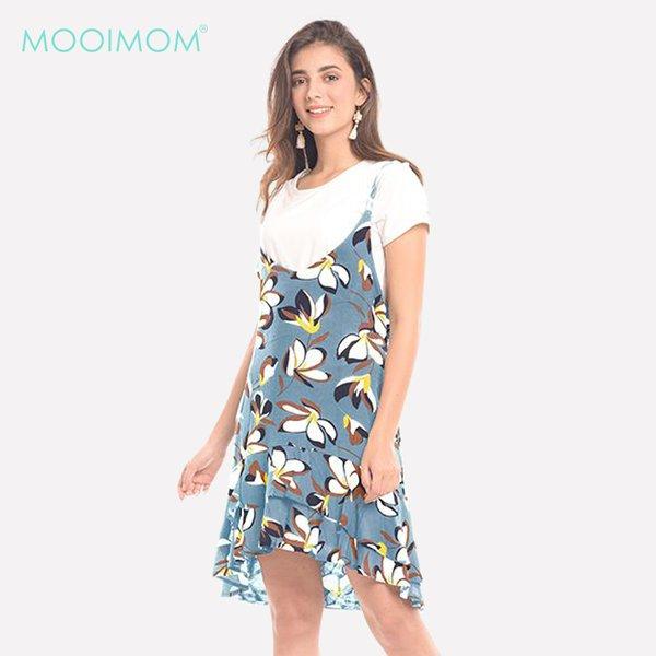 MOOIMOM 2 Piece Summer Floral Nursing Dress Baju Hamil & Menyusui