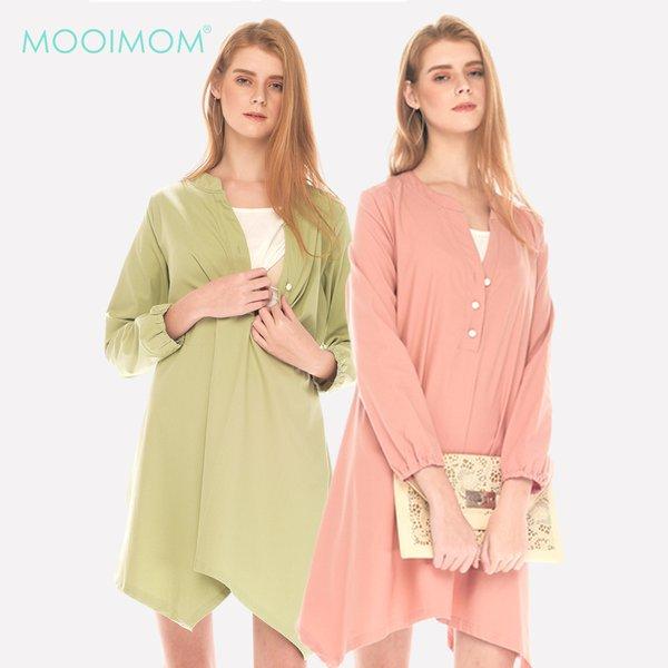 MOOIMOM Cool Cotton Pastel Long Sleeve Maternity & Nursing Dress Baju Hamil Menyusui