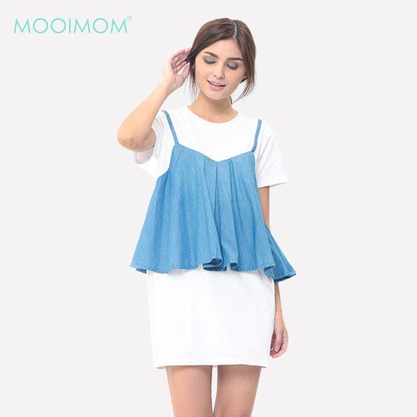 MOOIMOM Denim Vest One-Piece Maternity Dress Baju Hamil
