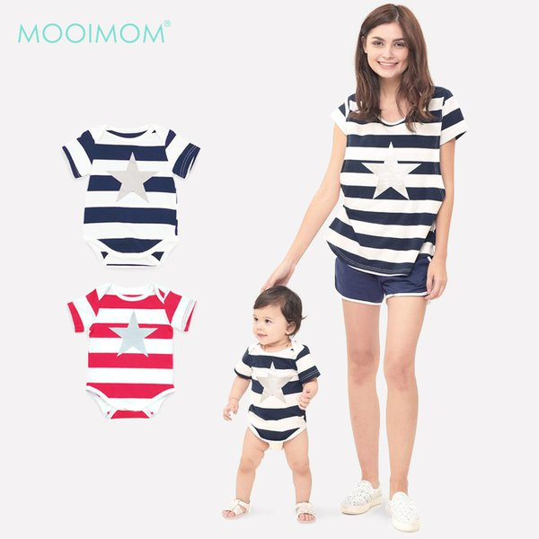 MOOIMOM Star stripe nursing couple set Baju Hamil Menyusui Couple Ibu Anak