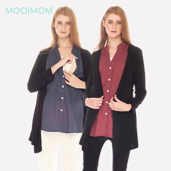 MOOIMOM Fake Two Piece Polka Dots Long Sleeves Nursing Shirt With Outer Baju Hamil Menyusui