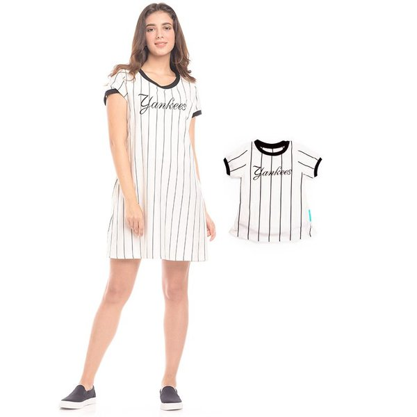 MOOIMOM One Piece Vertical White Striped Maternity & Nursing Dress Baju Hamil & Menyusui