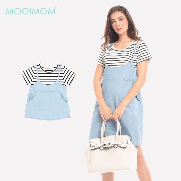 MOOIMOM 2 Piece Stripes Denim Nursing Dress Baju Hamil & Menyusui