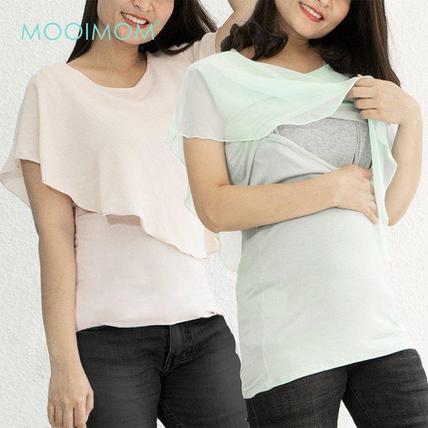 MOOIMOM Asymmetric Overlay Maternity And Nursing Shirt  - Atasan Hamil & Menyusui