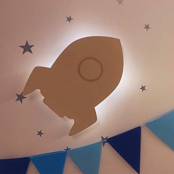 [SOMESHINE] Wooden Silhouette Wall Light Rocket - Lampu Hias Kamar Anak