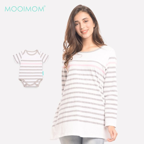 MOOIMOM Striped Long Sleeves Nursing Top Couple Set Baju Hamil & Menyusui Couple Ibu  Anak