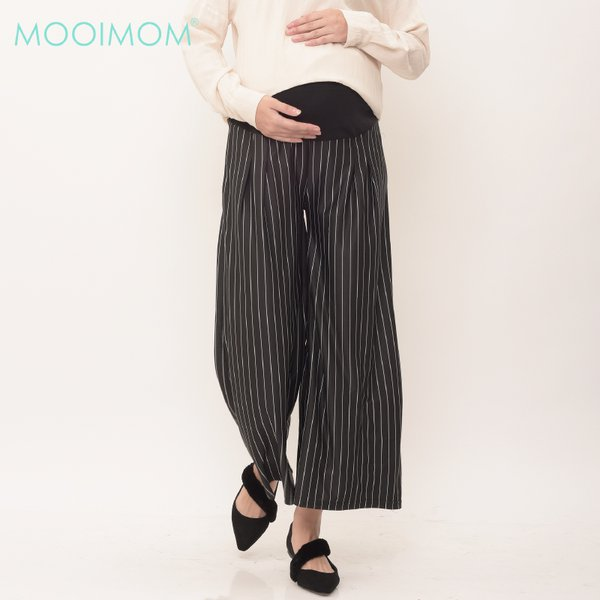 MOOIMOM Maternity Pinstripe Wide Leg Trouser Celana Pendek Ibu Hamil