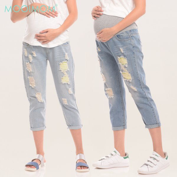 MOOIMOM New Boyfriend Maternity Jeans With Ripped Celana Jeans Hamil