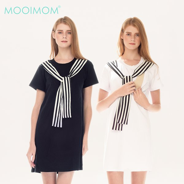 MOOIMOM Casual Look Nursing Dress Baju Ibu Hamil & Menyusui