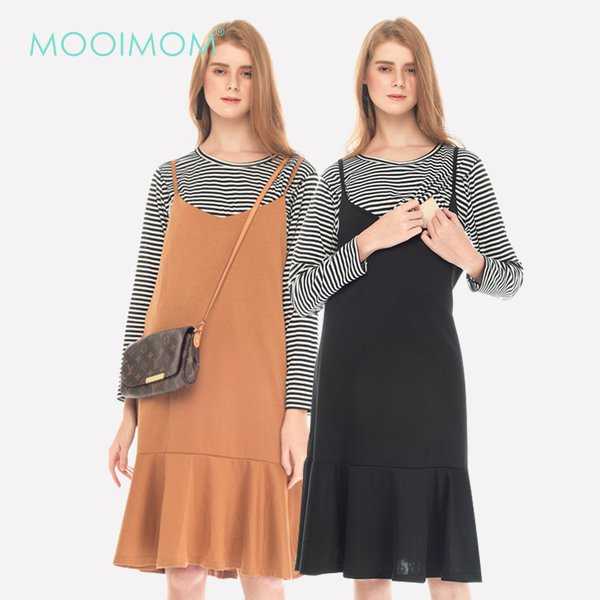 MOOIMOM Two Piece Stripe Ruffle Maternity & Nursing Dress Baju Hamil Menyusui