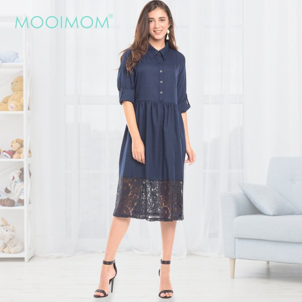 MOOIMOM Navy Vest With Lace Detail Maternity & Nursing Long Dress Baju Hamil & Menyusui