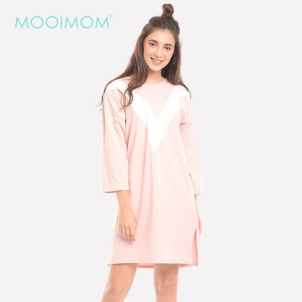 MOOIMOM Soft Pastel With V-Neck Zipper Maternity & Nursing Dress Baju Hamil & Menyusui