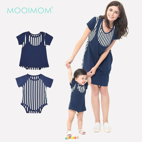 MOOIMOM Straight Stripe Nursing Sling Dress Couple Set Baju Hamil Menyusui Couple Ibu Anak