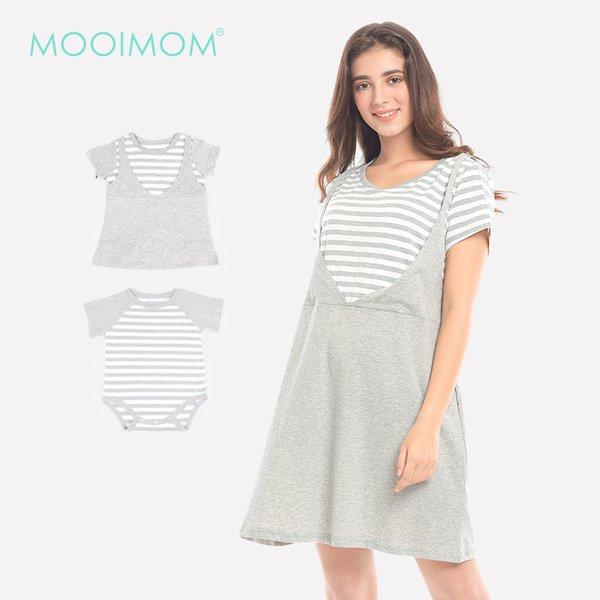 MOOIMOM Grey Stripped In Short Sleeves Nursing Dress Baju Hamil & Menyusui